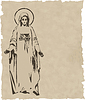 Vector clipart: Virgin Mary statue silhouette