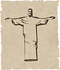 Vector clipart: iesus christ rio de janeiro statue silhouette
