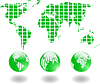 Vector clipart: green world map and globe