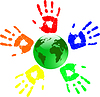 Vector clipart: green globe and color hands