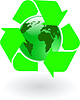 Vector clipart: green world globe with recycling symbol