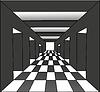 Векторный клипарт: Абстрактный коридоре с открытыми дверями
