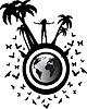 Векторный клипарт: силуэт девушка на земном шаре