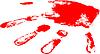 Vektor Cliparts: die rote Handabdruck