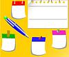 Vektor Cliparts: die Cartoon-Aufkleber und Pen-Set