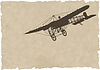 Vector clipart: old plane silhouette on old paper