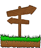 Vector clipart: wooden arrow on grass