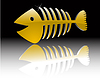 Vector clipart: abstract gold fish skeleton