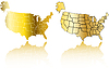 Vector clipart: gold usa map set