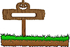 Vector clipart: halloween wood banner