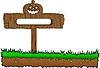 Vektor Cliparts: Die Halloween-Holz-Banner