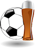 glass of beer with soccer ball