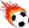 soccer ball with fire