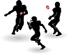 american football silhouettes set