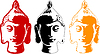 Vector clipart: color buddha head set