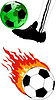 Vector clipart: soccer ball with fire