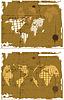 Vector clipart: retro grunge world map set