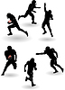 Vector clipart: american football silhouettes set