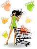 Vector clipart: shopping girl