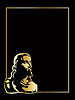Vector clipart: gold jesus on black background