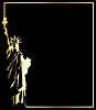 gold statue of liberty on black background