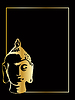 Vector clipart: gold buddha on black background