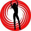 Vector clipart: girl silhouette on red swirl