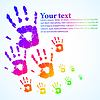 Vector clipart: hand print abstract color background