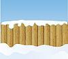 Winter-Hintergrund mit Holzzaun
