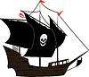 Vector clipart: Pirate sailboat
