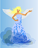 Vector clipart: Angel and Devil retro woman