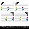 Vektor Cliparts: Farbige Ecken mit Bändern