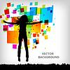 Vektor Cliparts: die abstrakte quadratischen bunten Hintergrund