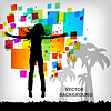 Vector clipart: abstract square colorful background