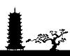 японский пейзаж - силуэт