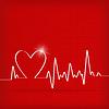 Векторный клипарт: Белое Сердце Бьется Кардиограмма на красном фоне