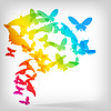 Vector clipart: Colorful Background with Butterfly