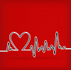 Vector clipart: White Heart Beats Cardiogram on Red background