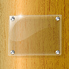 Vector clipart: Glass plate on Wood background