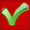 Vector clipart: green checkmark on red background
