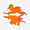 Vector clipart: Abstract arrow in hole