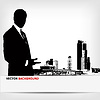Vector clipart: abstract businessman silhouette background