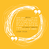 Vector clipart: Circle frame with quote on yellow background