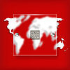 Vector clipart: Abstract background with world map on red -