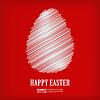 Векторный клипарт: белый набросок пасхальное яйцо на красном фоне