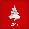 Vector clipart: Stylized origami Christmas tree on red background