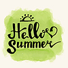 Vector clipart: Watercolor watermelons and lettering hello summer