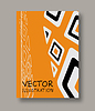 Vector clipart: Geometric ethnic abstract orange flyers