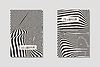 Vector clipart: Design monochrome waving lines illusion background