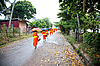 Photo 300 DPI: Buddhist novices walk to collect alms and offerings
